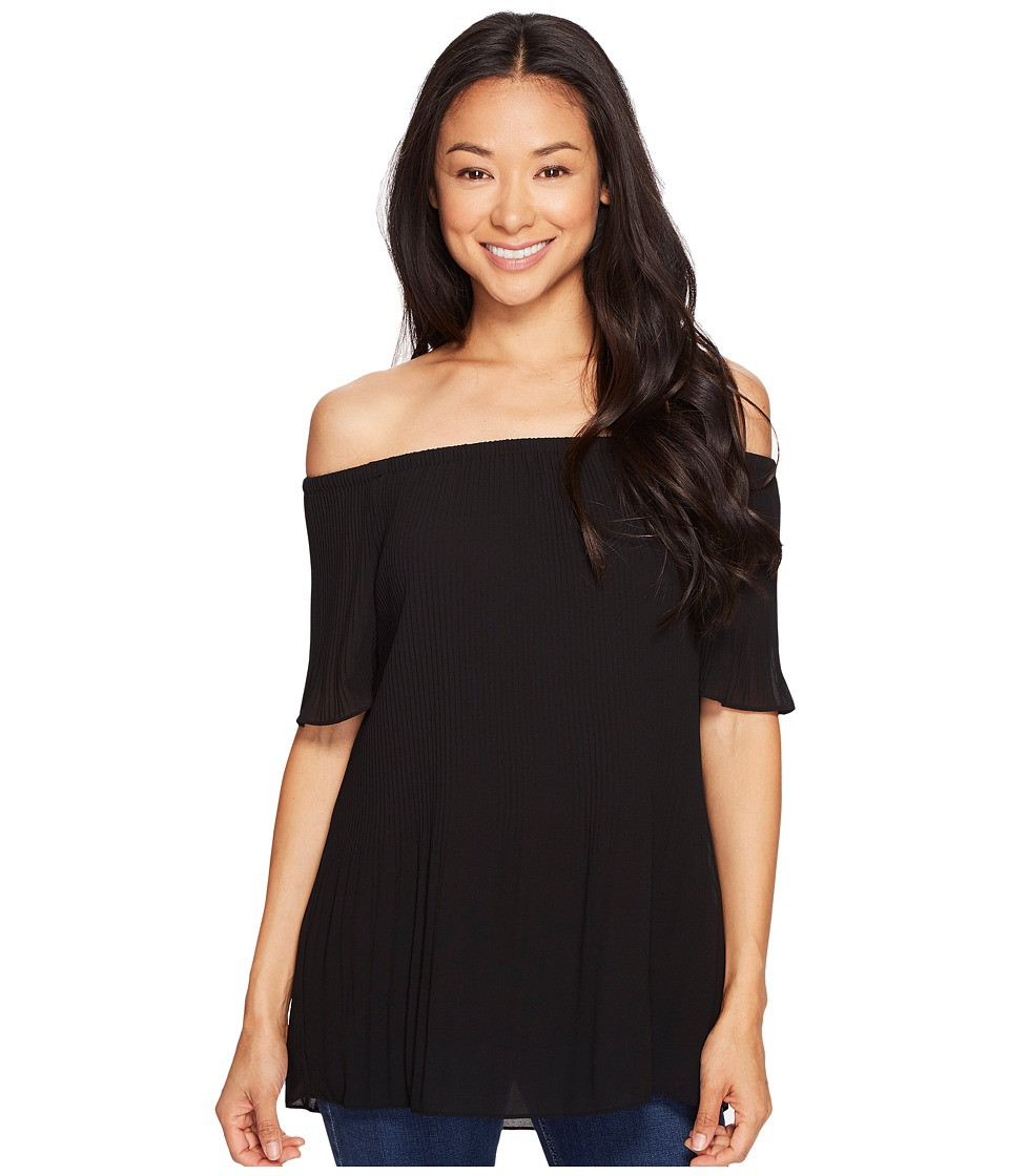 MICHAEL Michael Kors - Pleated Off Shoulder (Black) Women's Clothing