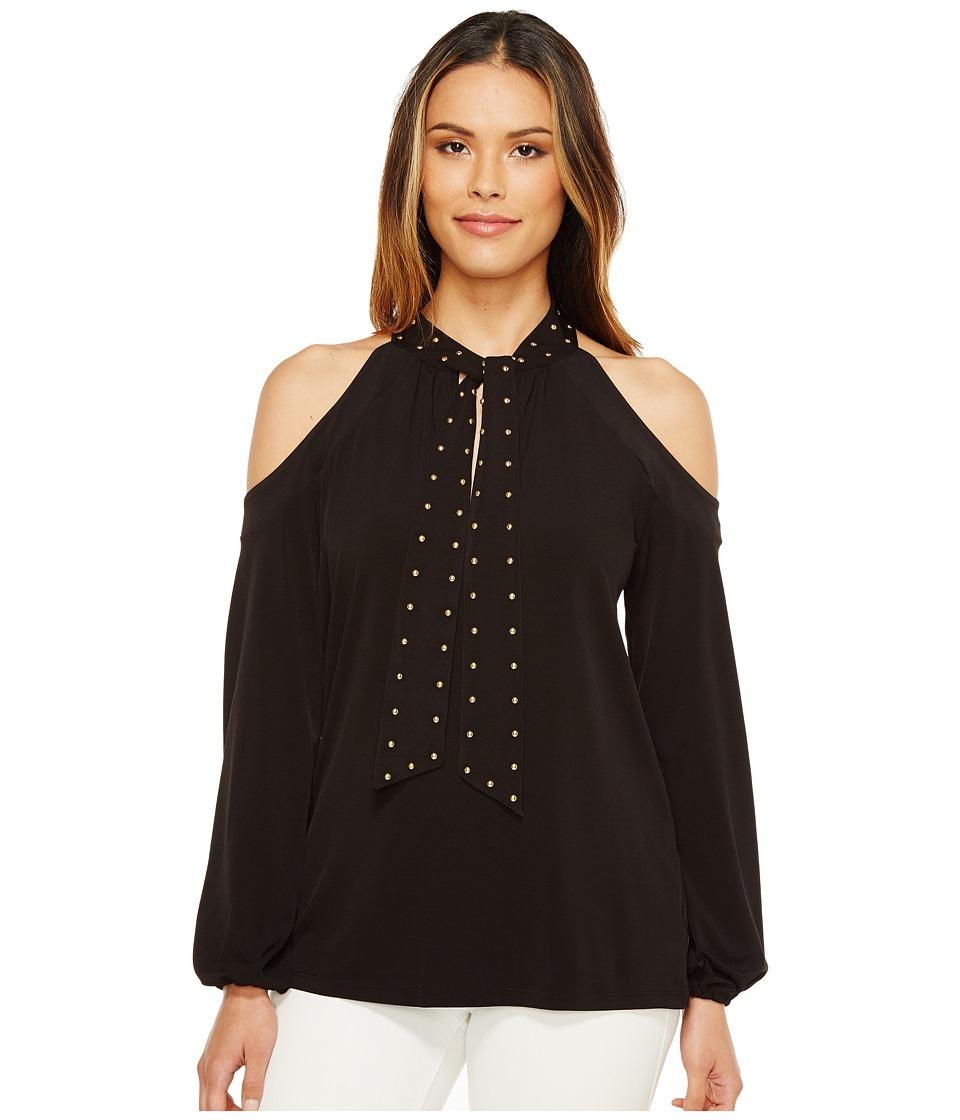 MICHAEL Michael Kors - Dome Stud Cold Shoulder Top (Black) Women's Clothing