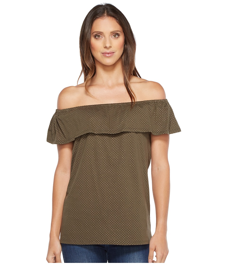 MICHAEL Michael Kors - Off Shoulder Flounce Top (Ivy) Women's Clothing