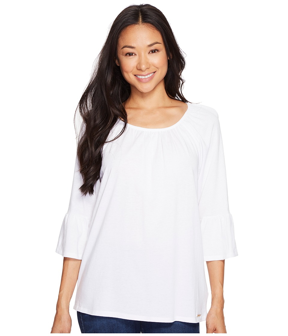 MICHAEL Michael Kors - Gathered Sleeve Peasant Top (White) Women's Clothing