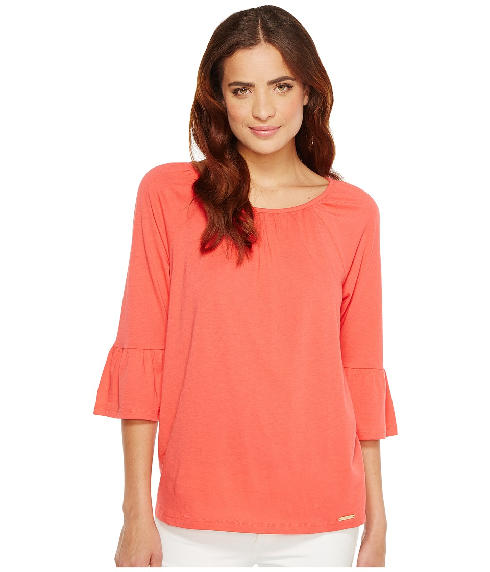 MICHAEL Michael Kors - Gathered Sleeve Peasant Top (Sangria) Women's Clothing