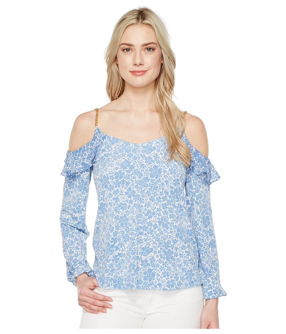 MICHAEL Michael Kors - Tansy Cold Shoulder Top (Blueberry) Women's Clothing