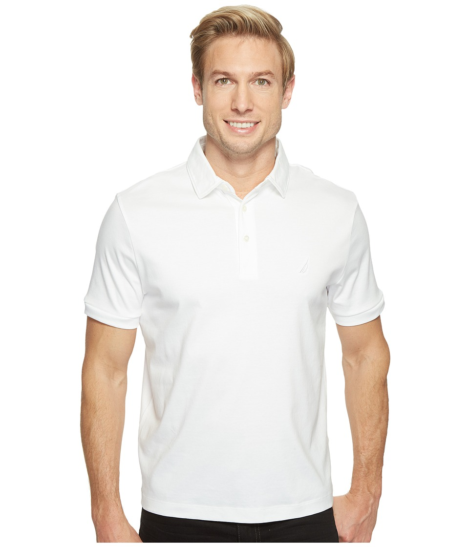 Nautica - Short Sleeve Solid Softex Polo (Bright White) Men's Short Sleeve Pullover