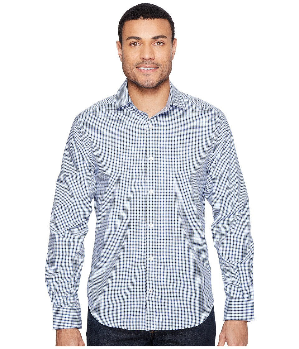 Nautica - Long Sleeve Wrinkle Resistant Small Plaid (Bright Cobalt) Men's Long Sleeve Button Up