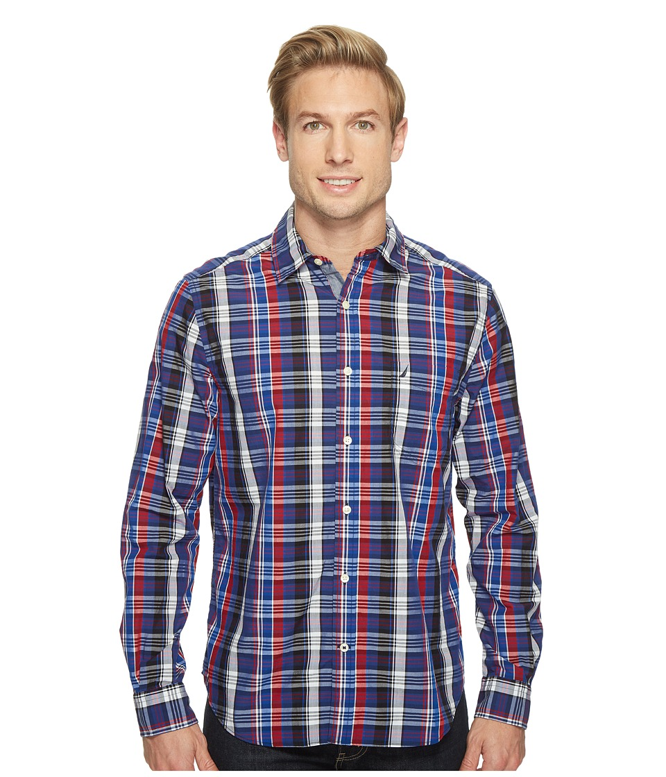 Nautica - Long Sleeve Large Plaid Shirt (Nautica Red) Men's Long Sleeve Button Up
