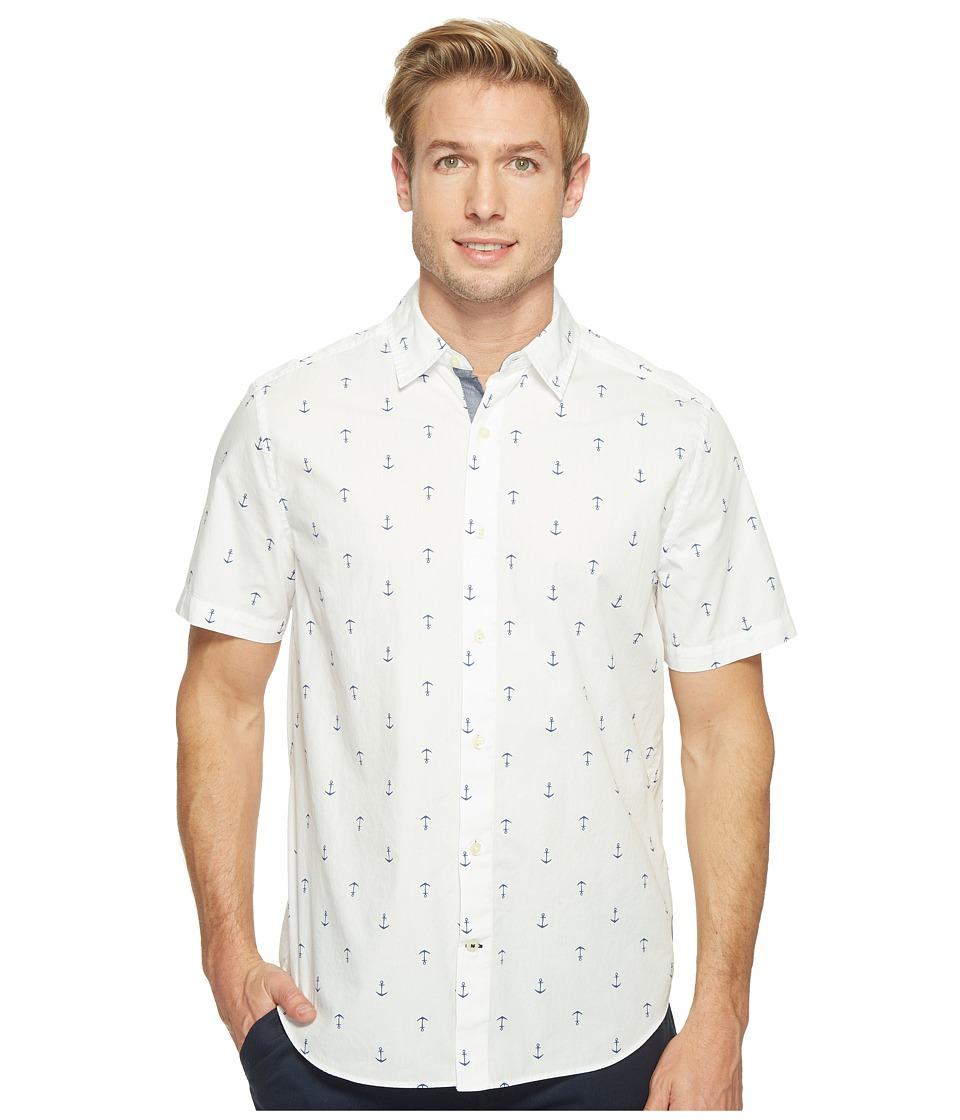 Nautica - Short Sleeve Anchors Print (Bright White) Men's Clothing