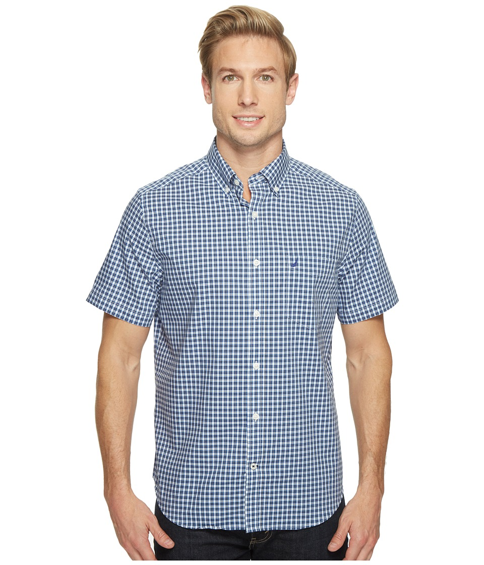 Nautica - Short Sleeve Medium Plaid Wrinkle Resistant (Maritime Navy) Men's Clothing