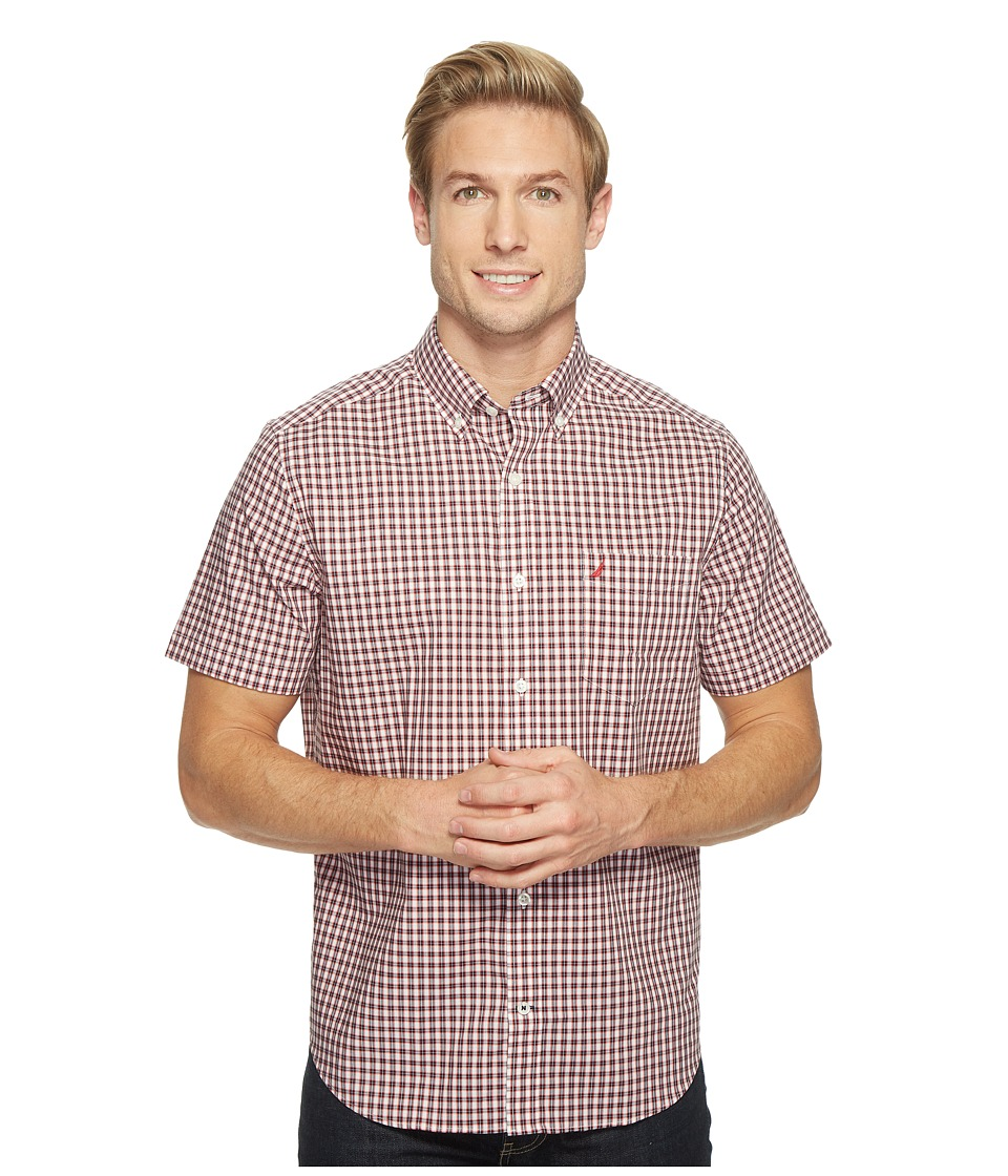 Nautica - Short Sleeve Medium Plaid Wrinkle Resistant (Nautica Red) Men's Clothing