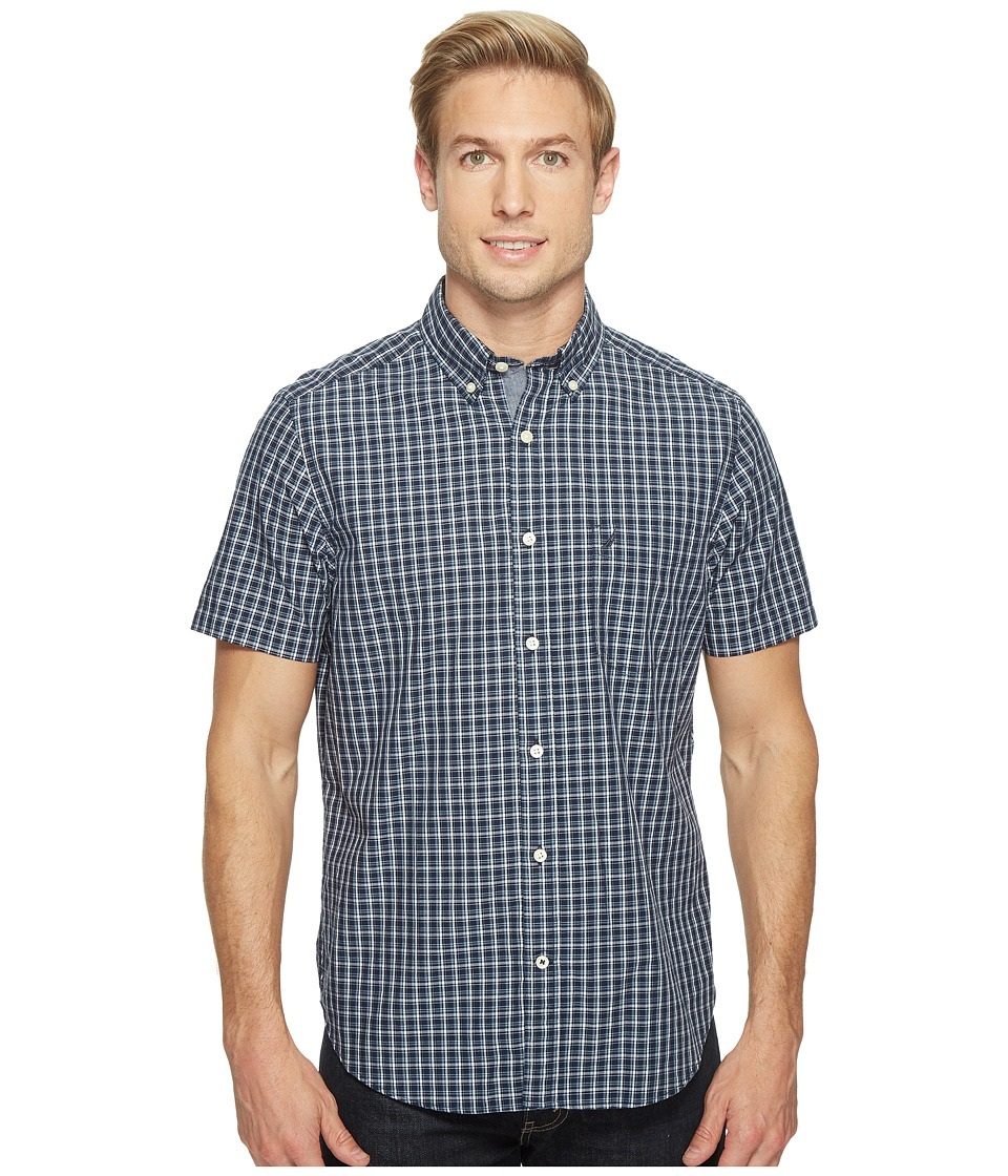 Nautica - Short Sleeve Large Plaid (Maritime Navy) Men's Clothing