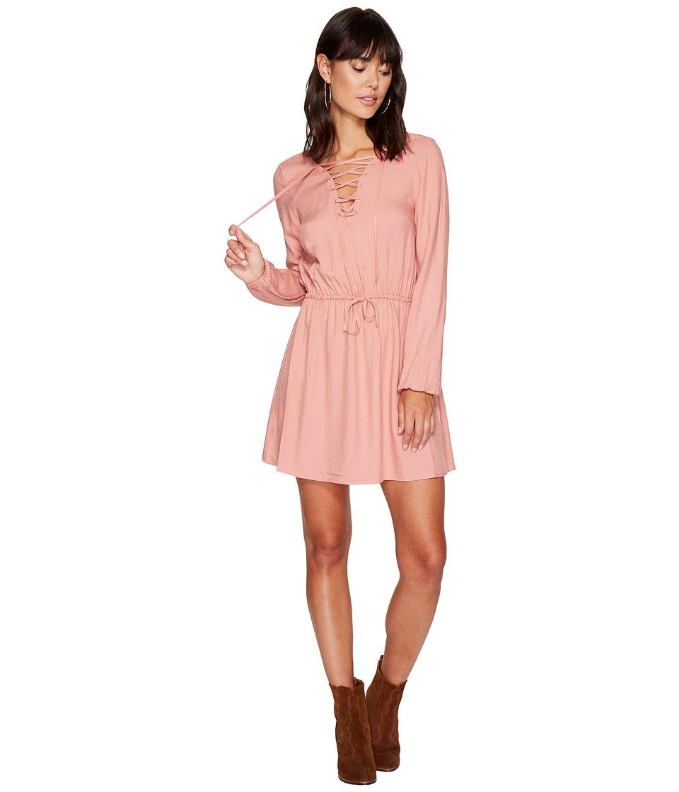 Jack by BB Dakota - Char Rayon Twill Lace-Up Dress (Rose Dawn) Women's Dress