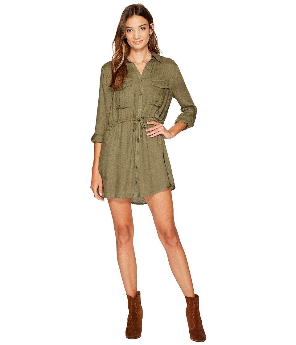 Jack by BB Dakota - Casey Rayon Crepe Drawstring Waist Dress with Twill Tape Trim (Light Olive) Women's Dress
