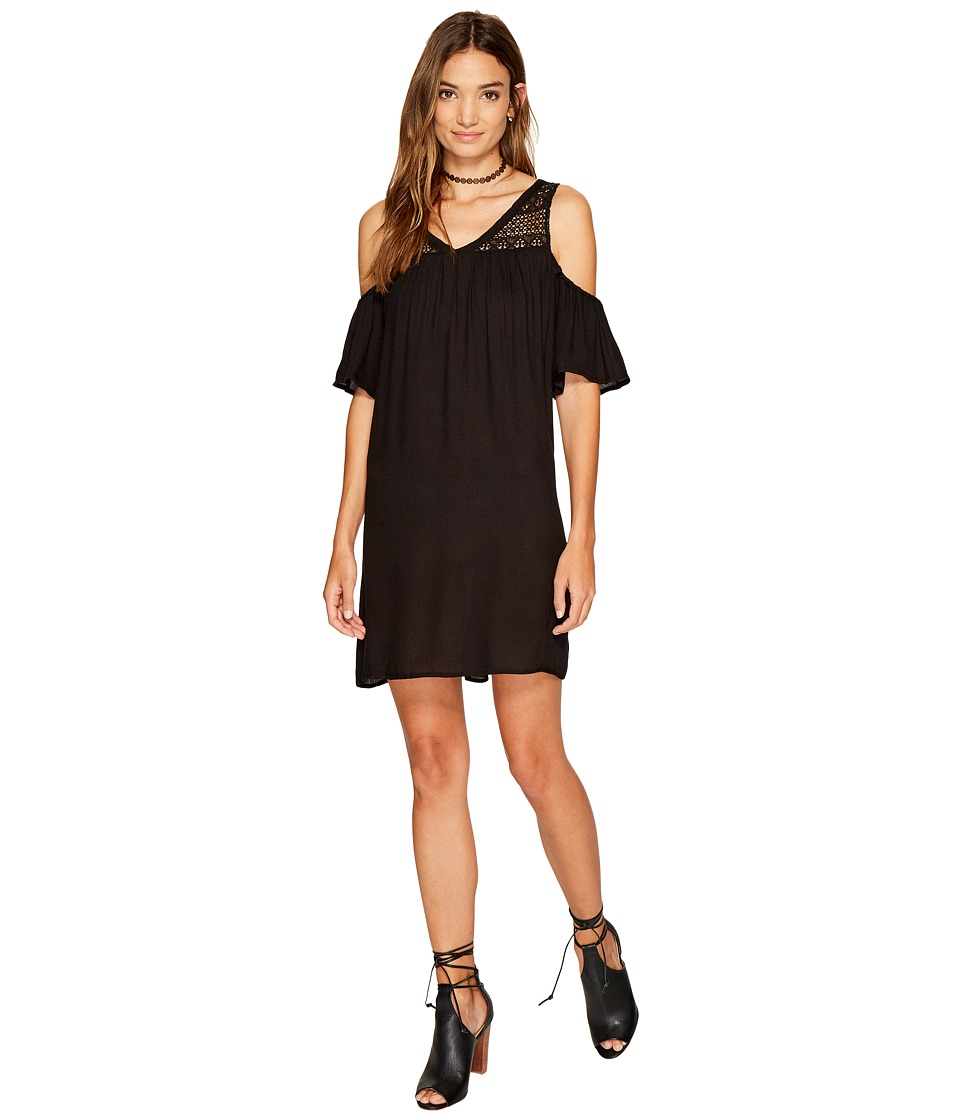 Jack by BB Dakota - Dunbar Rayon Crepe with Lace Yoke Dress (Black) Women's Dress