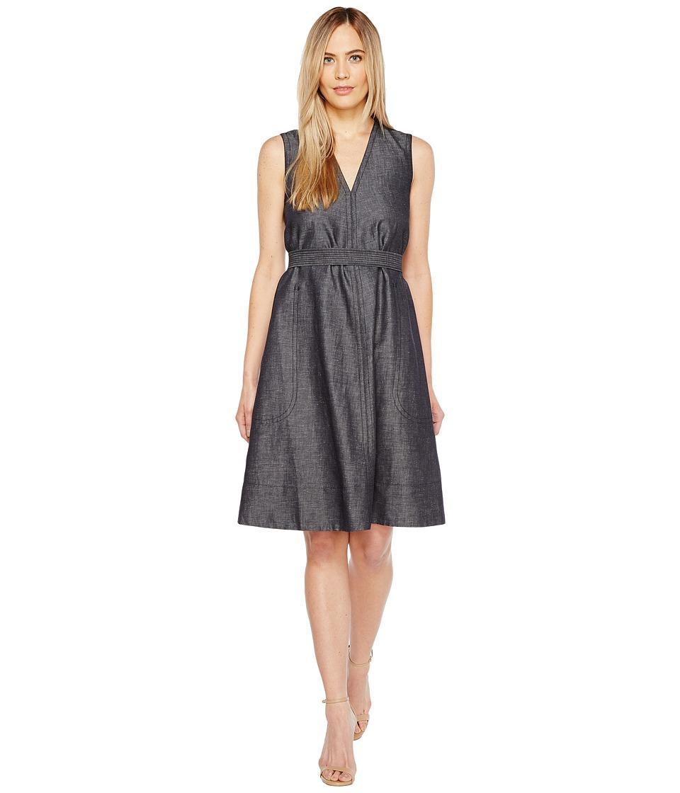 Ellen Tracy - Belted Fold Dress (Indigo Denim-Face) Women's Dress
