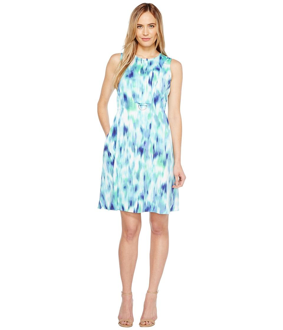 Ellen Tracy - D-Ring A-Line Skirt (Waves/Ink Combo) Women's Skirt