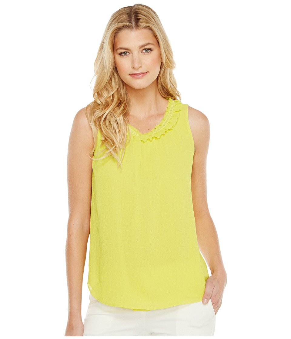 Ellen Tracy - Ruffled Neck Shell (Chartreuse) Women's Clothing