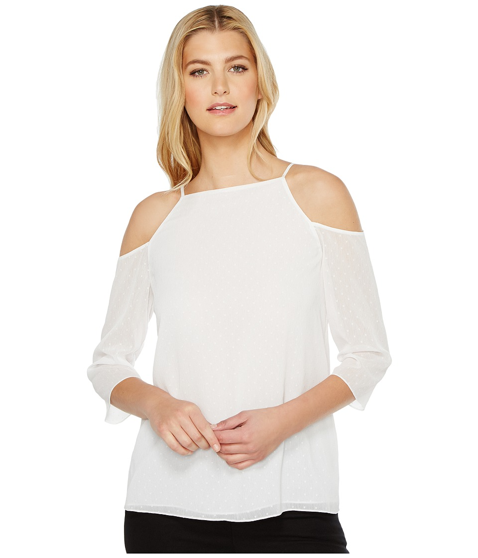 Ellen Tracy - Cold Shoulder Blouse (Clip GGT-E White) Women's Blouse