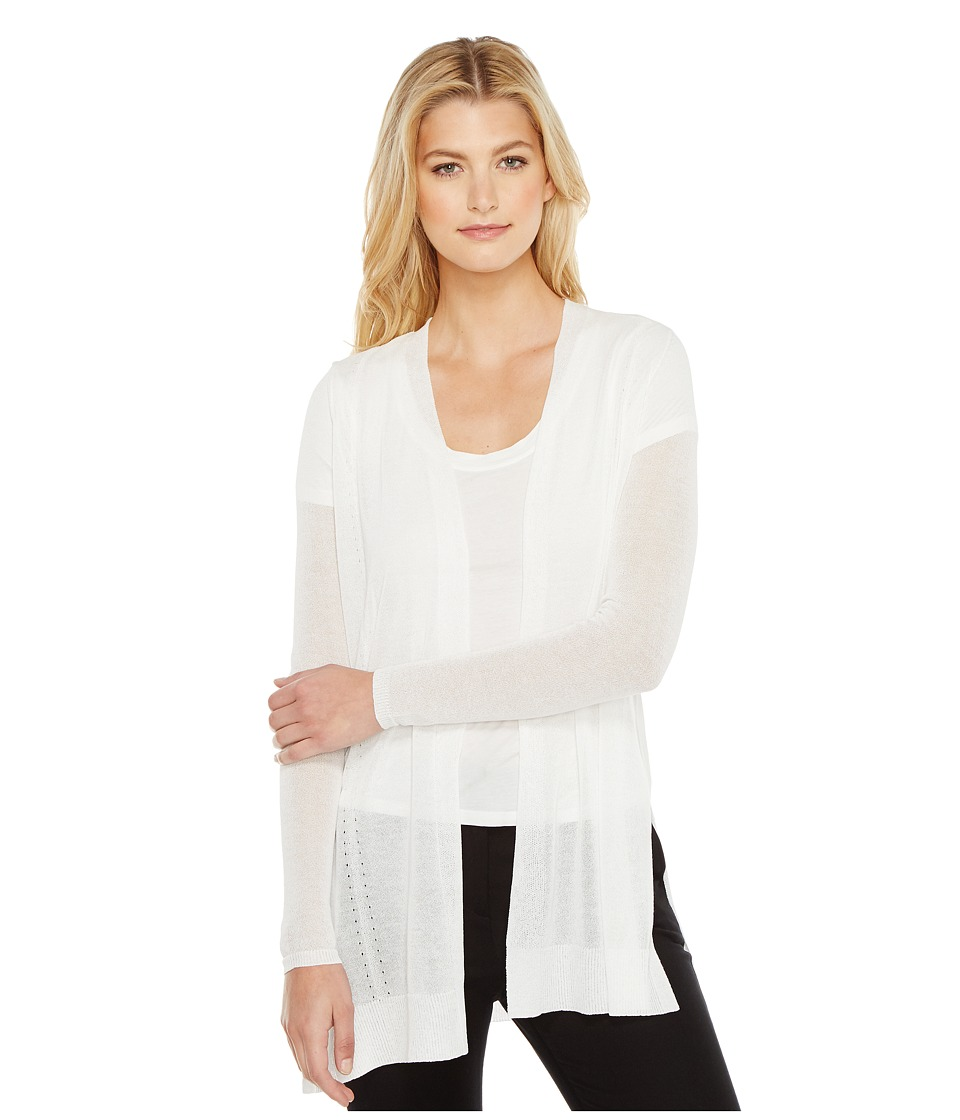 Ellen Tracy - Drape Front Pointelle Cardigan (E White) Women's Sweater