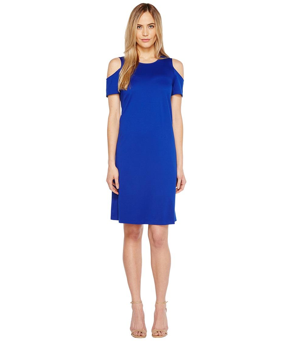 Ellen Tracy Open Shoulder Dress (Azure) Women