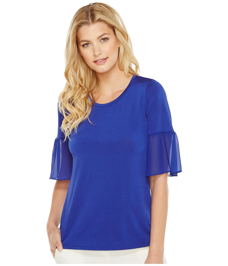 Ellen Tracy - Mixed Media Flounce Sleeve Top (Azure) Women's Clothing