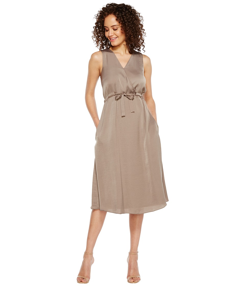 Ellen Tracy - Front Tie Wrap Dress (Seagrass) Women's Dress