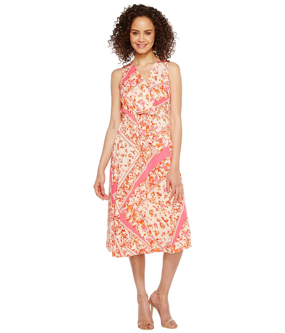 Ellen Tracy - Front Tie Wrap Dress (Scarf/Begonia Combo) Women's Dress