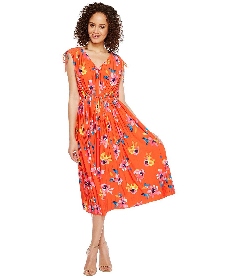 Ellen Tracy - Tie Waist Pleat Dress (Floral/Grenadine) Women's Dress
