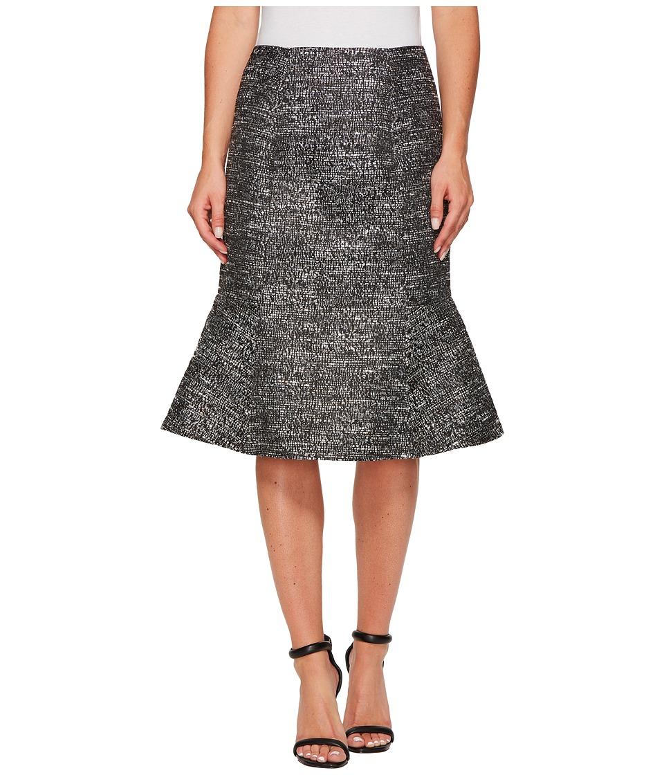 Ellen Tracy Seamed Flounce Skirt (Black Multi) Women