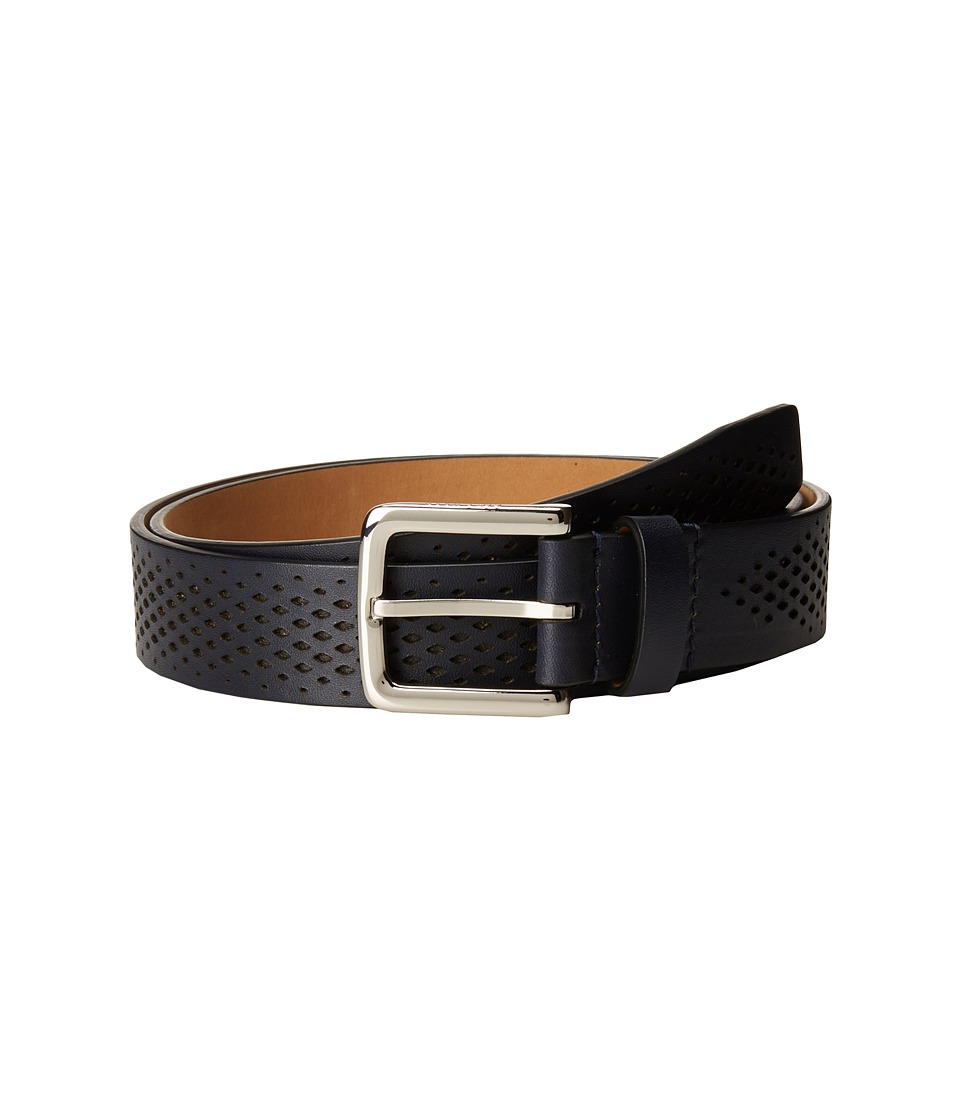 Cole Haan - Washington Grand 32mm Laser Perf Belt (Marine Blue) Men's Belts