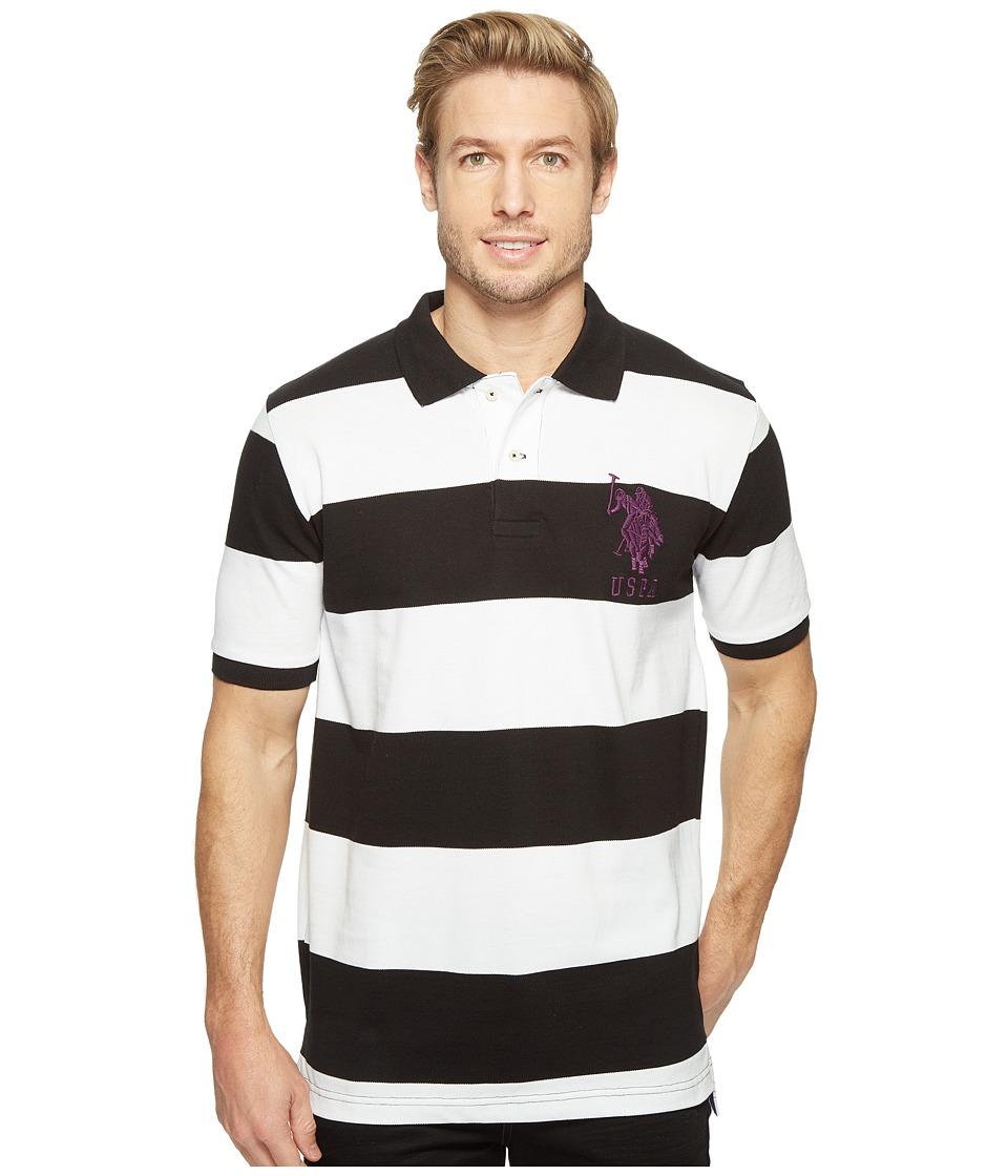 U.S. POLO ASSN. - Stripe Pique Polo w/ Big Pony (Black) Men's Short Sleeve Button Up