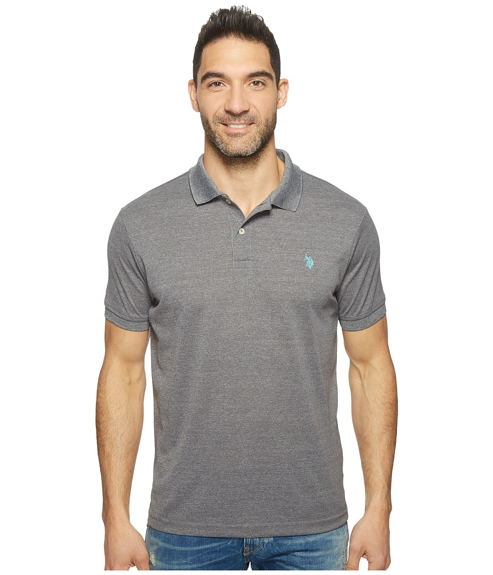 U.S. POLO ASSN. - Polyester Heather Pique Polo Shirt (Black Heather) Men's Clothing