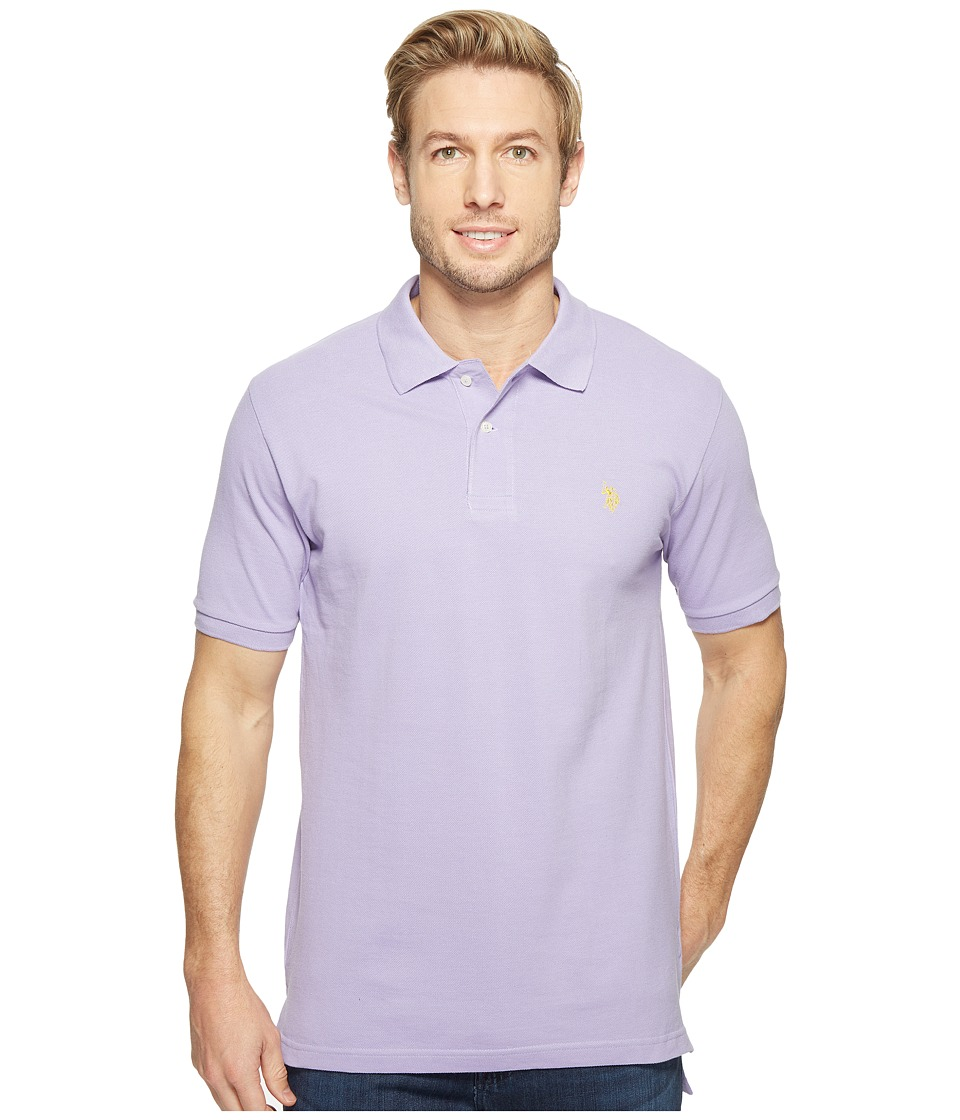 U.S. POLO ASSN. - Solid Cotton Pique Polo with Small Pony (Purple Haze/Yellow) Men's Short Sleeve Knit