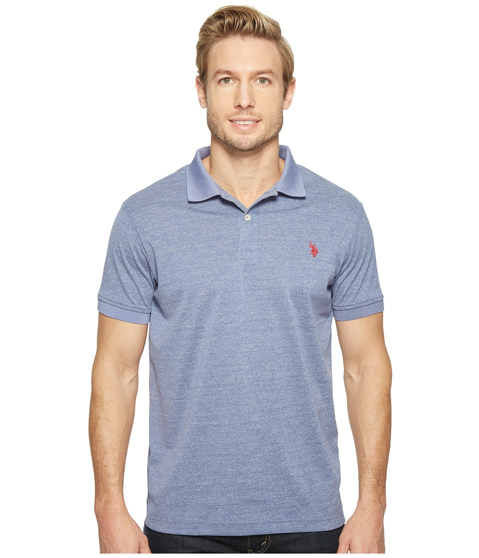U.S. POLO ASSN. - Polyester Heather Pique Polo Shirt (Dodger Blue Heather) Men's Clothing