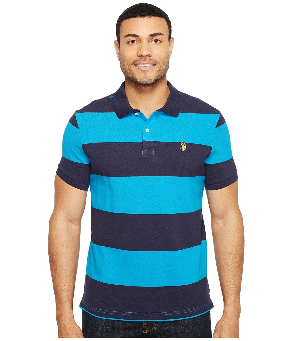 U.S. POLO ASSN. - Yarn-Dye Stripe Pique Polo (Teal Blue/Classic Navy) Men's Clothing