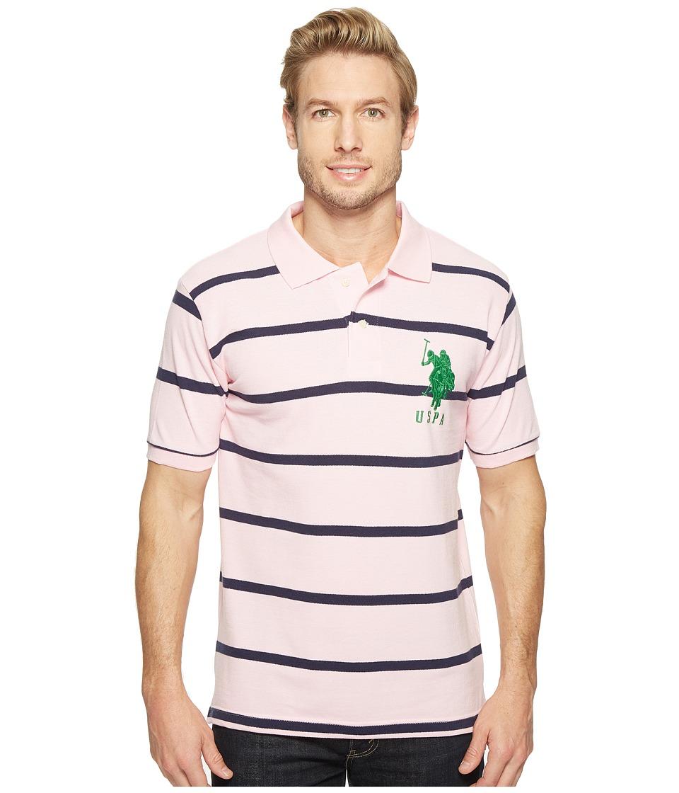 U.S. POLO ASSN. - 2 Color Narrow Stripe Polo (Pink Lemonade) Men's Short Sleeve Knit