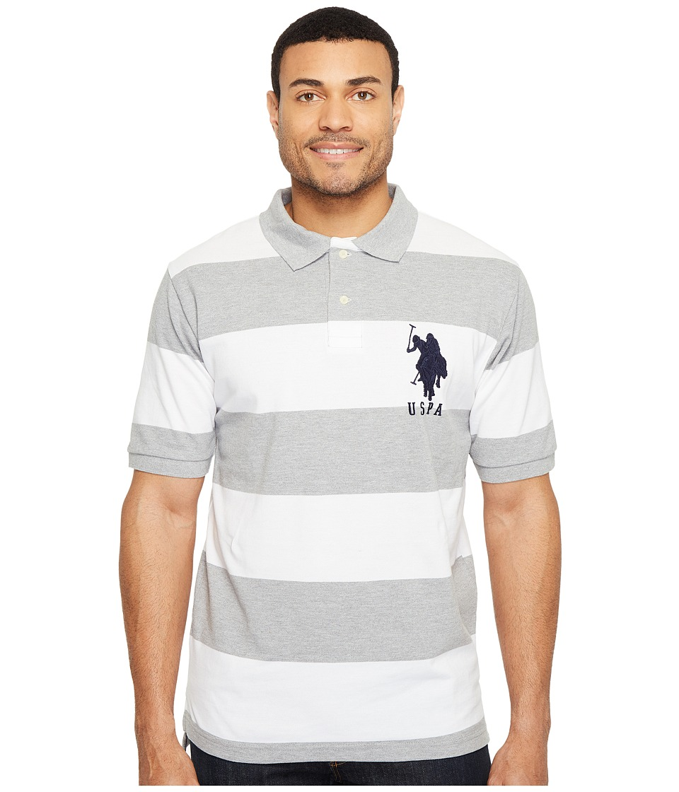 U.S. POLO ASSN. - Stripe Pique Polo w/ Big Pony (Heather Grey/White) Men's Short Sleeve Button Up