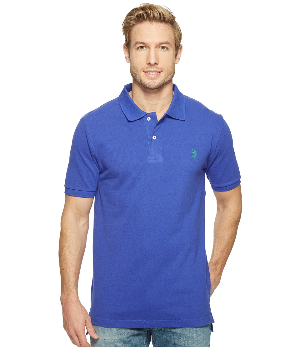 U.S. POLO ASSN. - Solid Cotton Pique Polo with Small Pony (Blue Storm) Men's Short Sleeve Knit