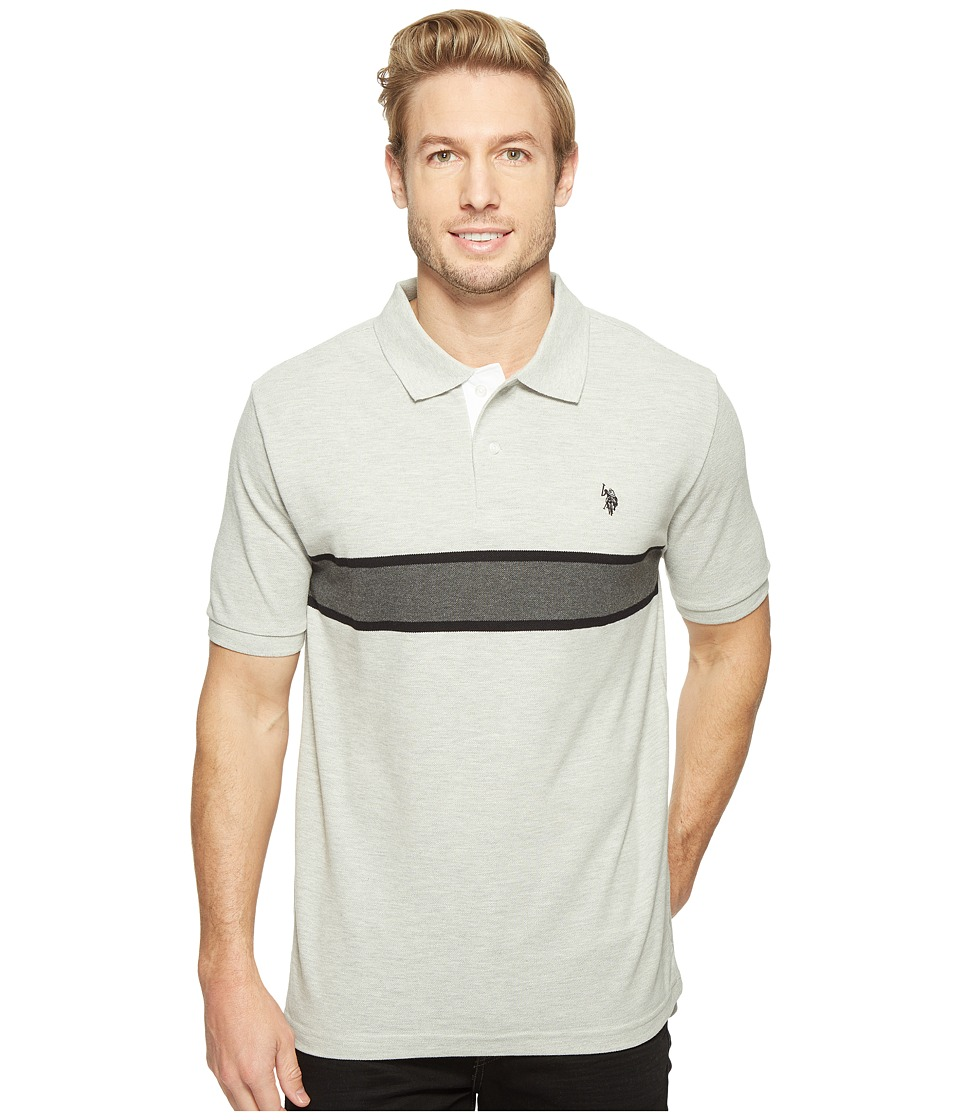 U.S. POLO ASSN. - Engineered Chest Stripe Pique Polo Shirt (Light Heather Gray) Men's Clothing