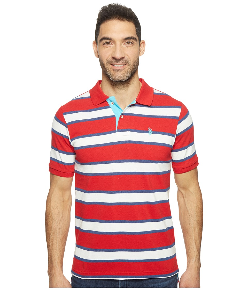 U.S. POLO ASSN. - Balanced Stripe Pique Polo Shirt (Engine Red) Men's Clothing