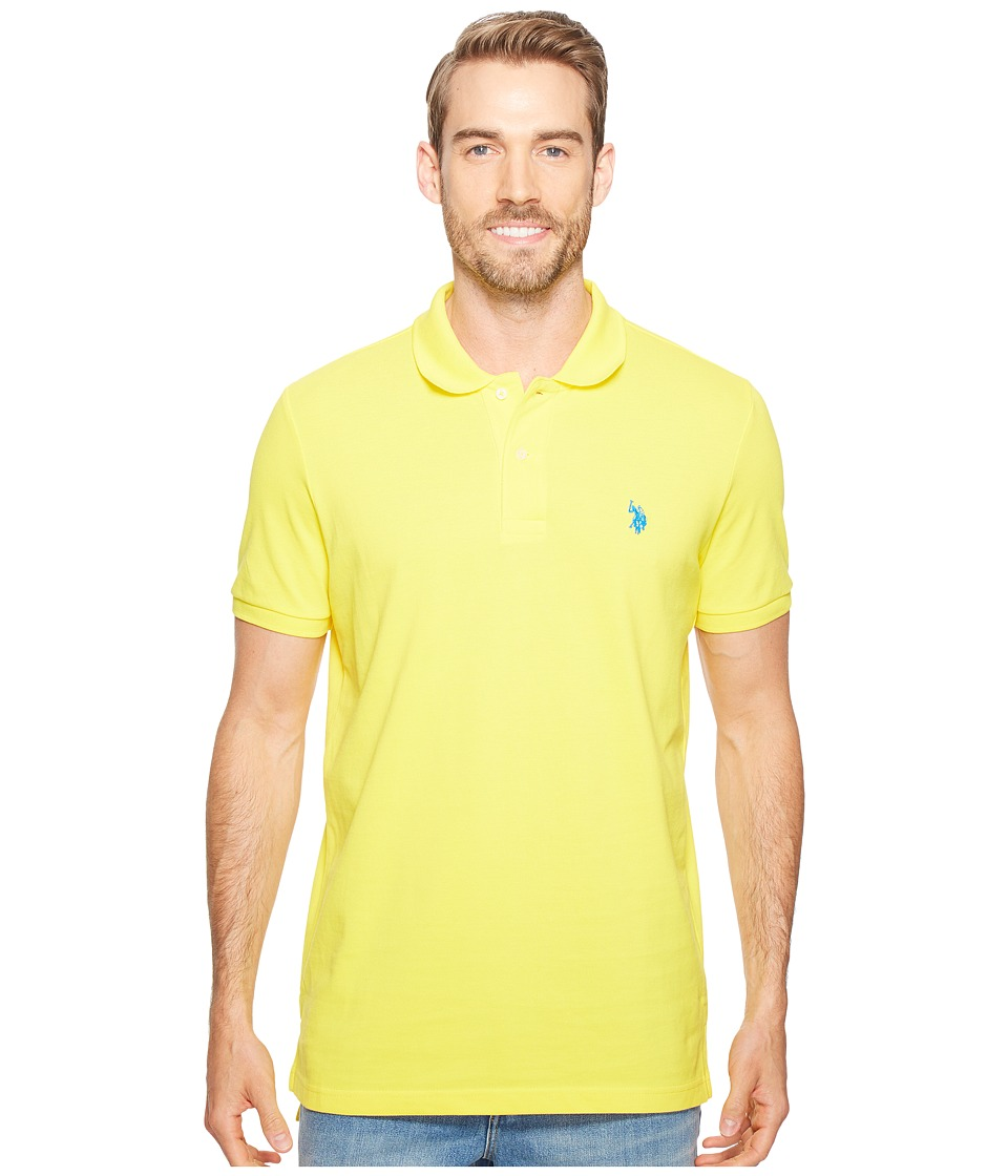 U.S. POLO ASSN. - Solid Cotton Pique Polo with Small Pony (Mid Day Yellow) Men's Short Sleeve Knit