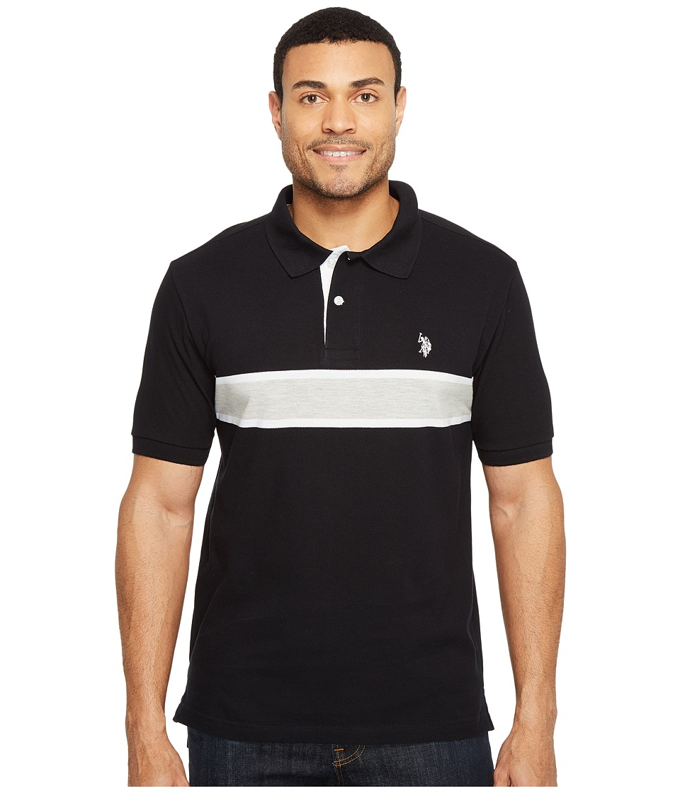 U.S. POLO ASSN. - Engineered Chest Stripe Pique Polo Shirt (Black) Men's Clothing