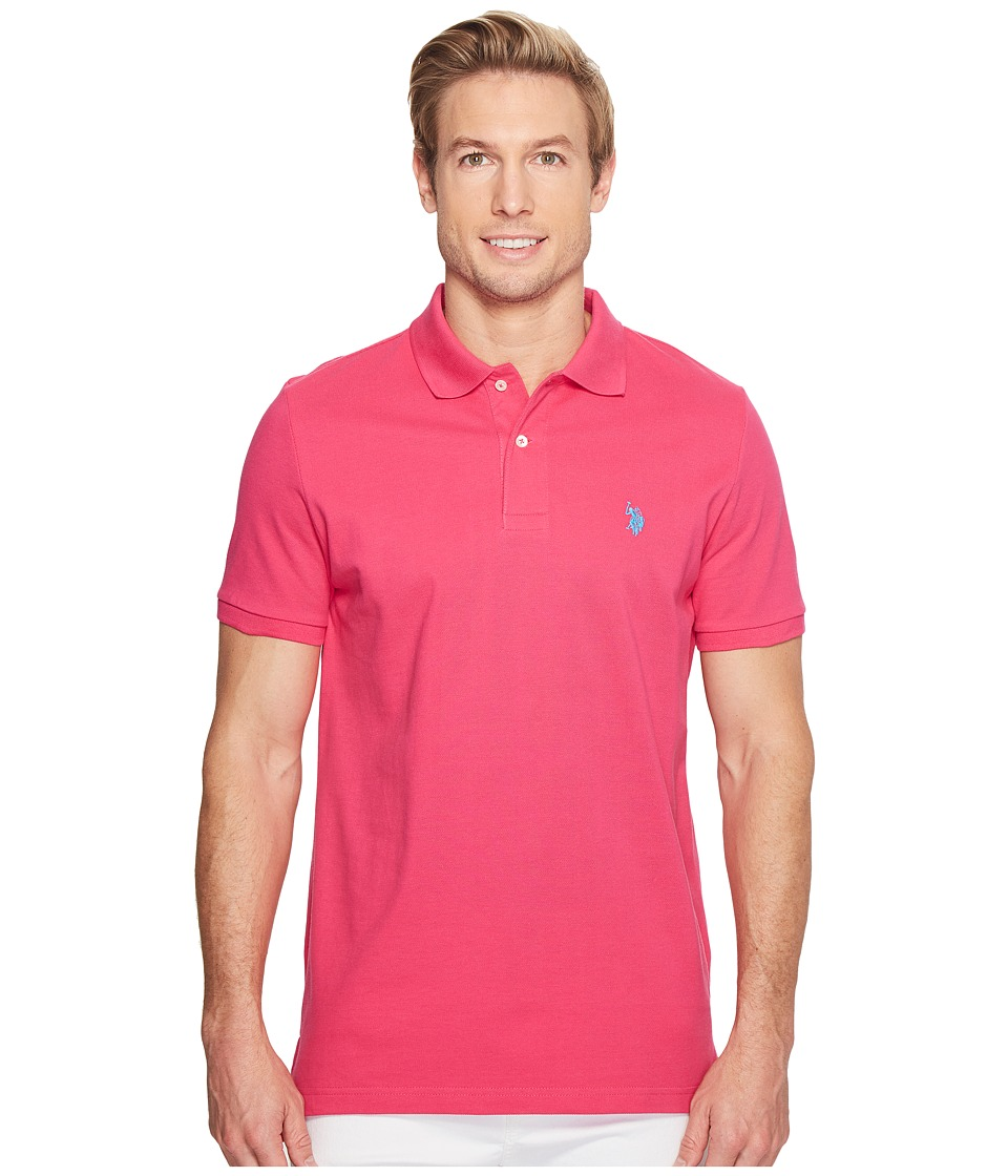U.S. POLO ASSN. - Solid Cotton Pique Polo with Small Pony (Caribbean Pink) Men's Short Sleeve Knit