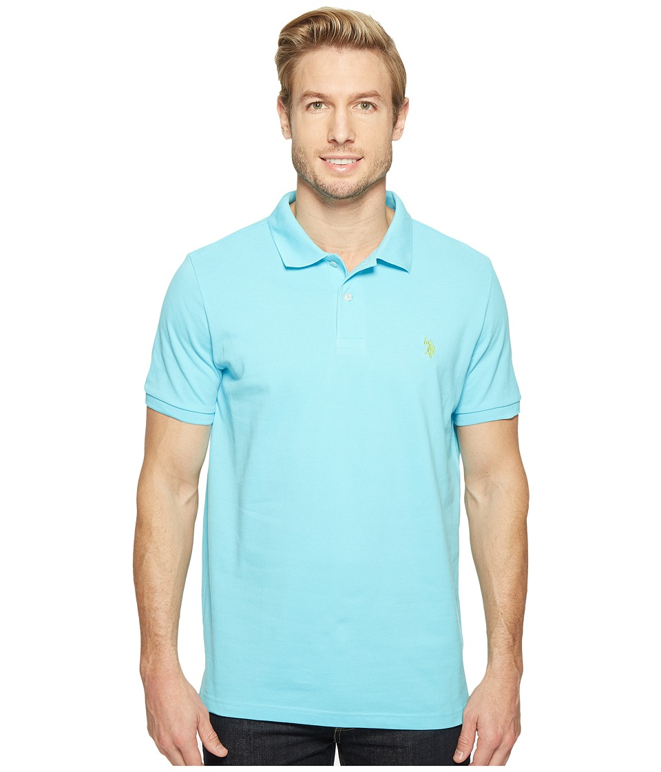 U.S. POLO ASSN. - Solid Cotton Pique Polo with Small Pony (Swimming Blue) Men's Short Sleeve Knit