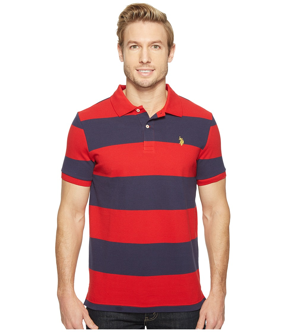U.S. POLO ASSN. - Yarn-Dye Stripe Pique Polo (Engine Red/Classic Navy) Men's Clothing