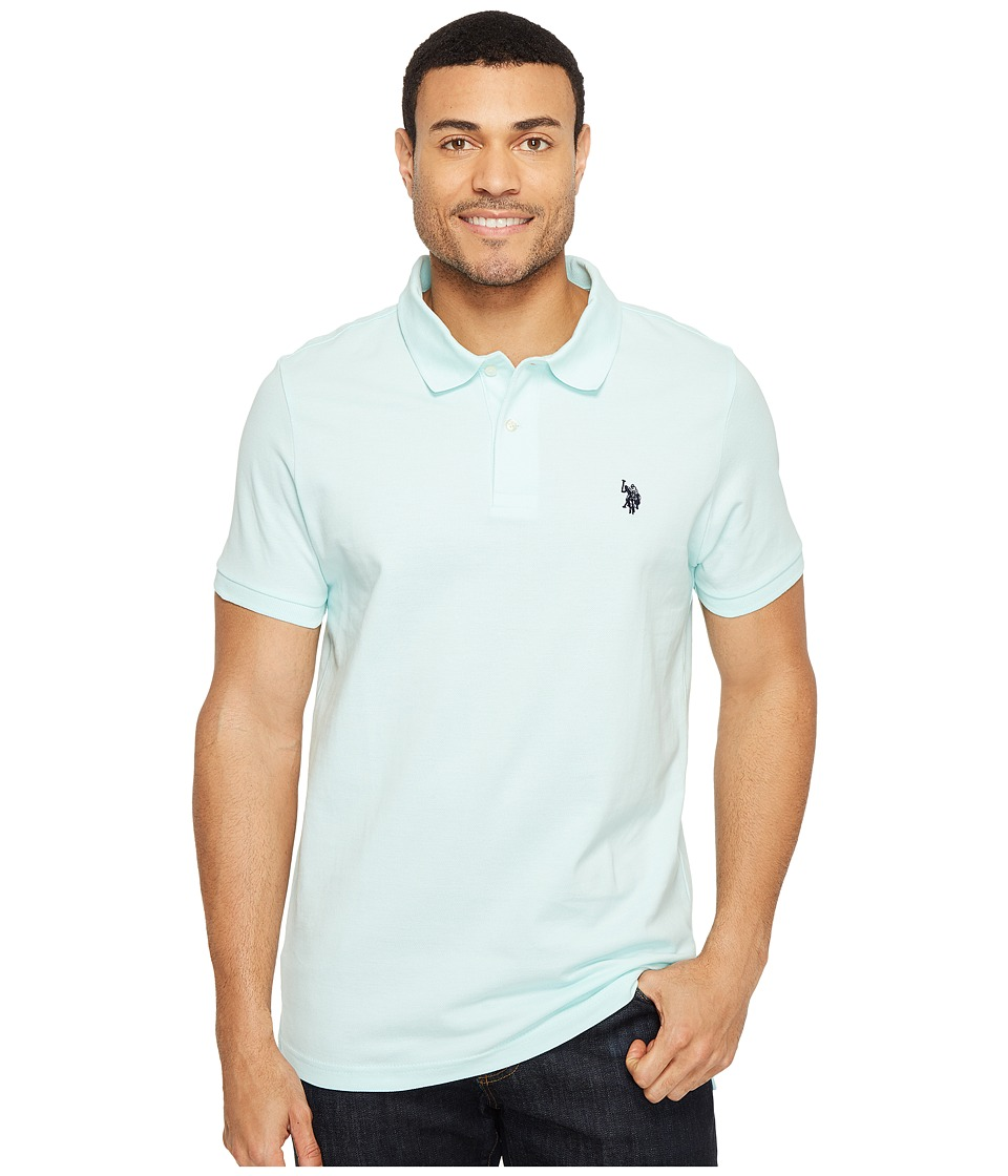 U.S. POLO ASSN. - Solid Cotton Pique Polo with Small Pony (Aqua Light) Men's Short Sleeve Knit