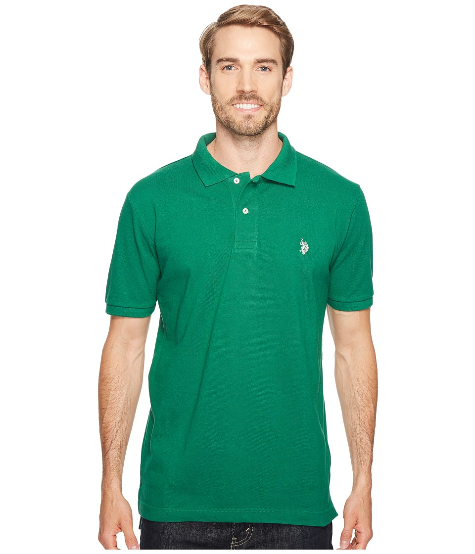 U.S. POLO ASSN. - Solid Cotton Pique Polo with Small Pony (Deep Forest) Men's Short Sleeve Knit