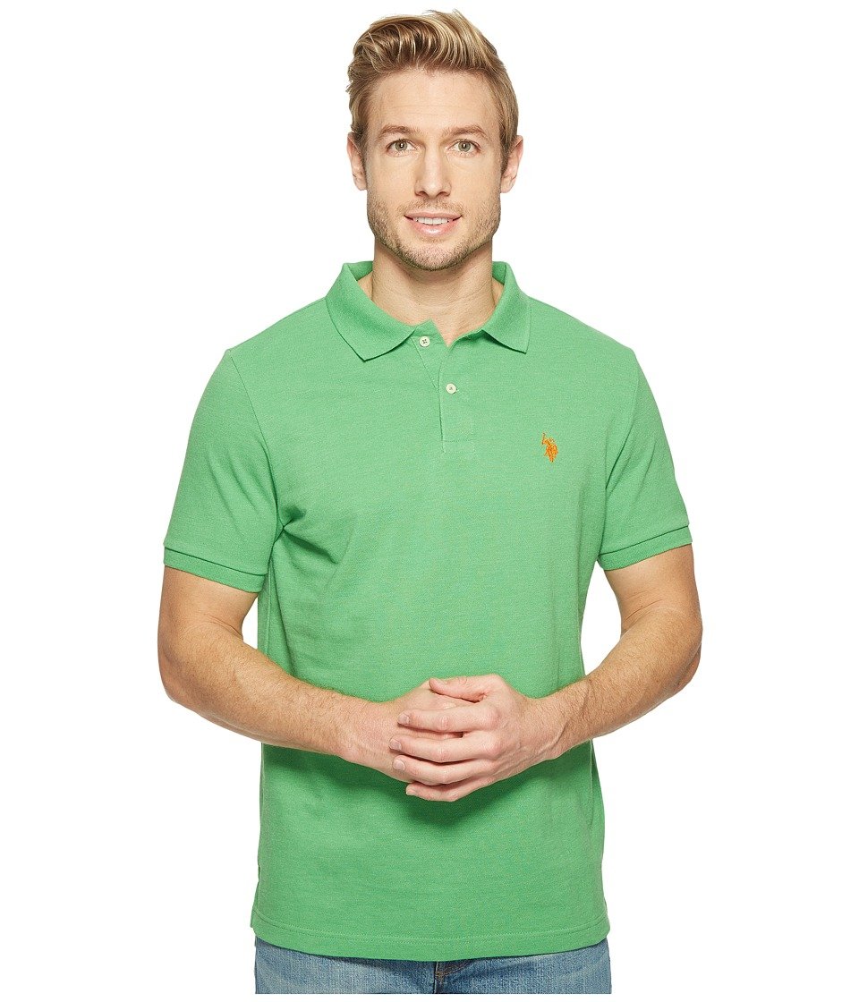 U.S. POLO ASSN. - Solid Cotton Pique Polo with Small Pony (Grass Heather) Men's Short Sleeve Knit