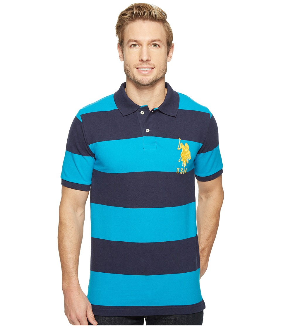 U.S. POLO ASSN. - Stripe Pique Polo w/ Big Pony (Teal Blue/Classic Navy) Men's Short Sleeve Button Up