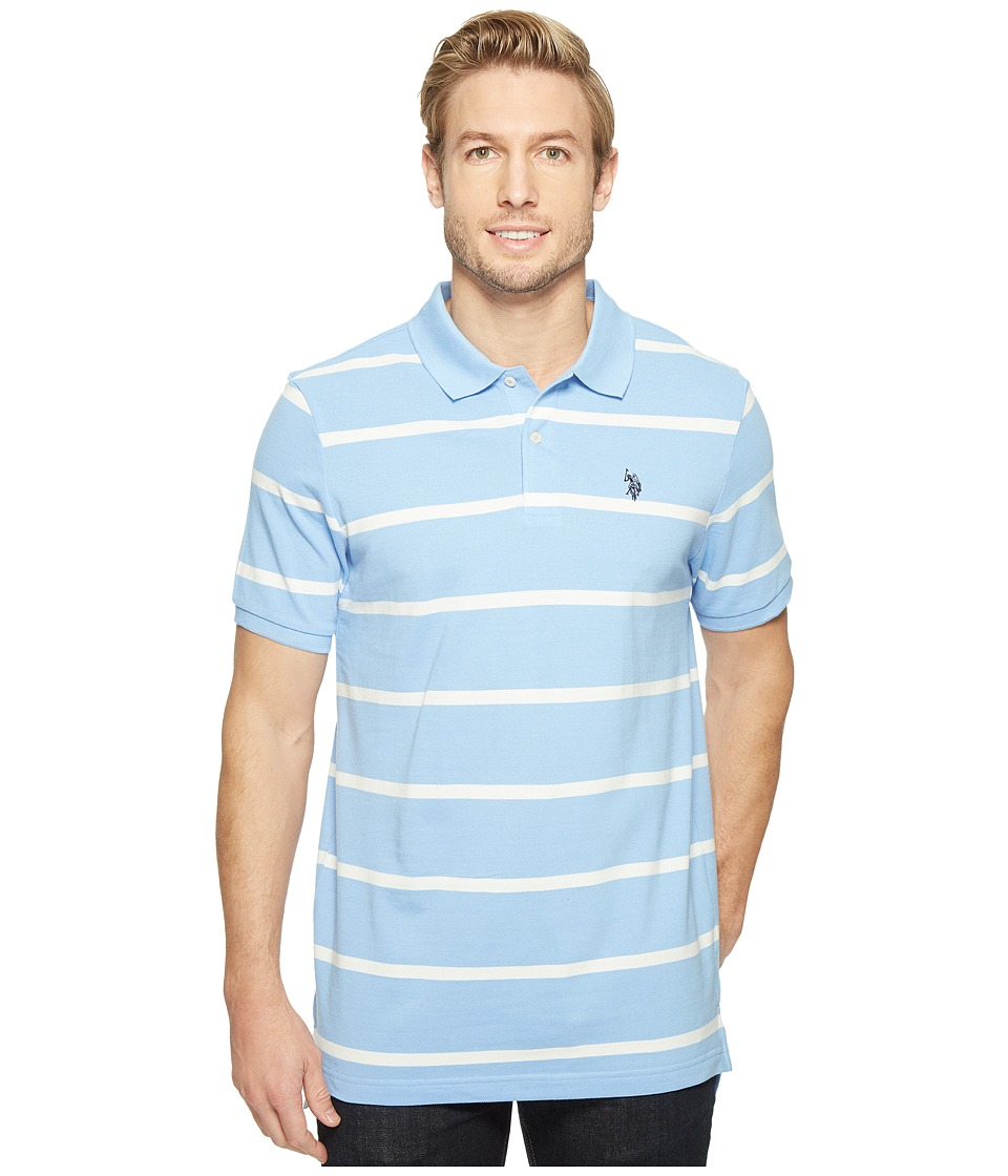 U.S. POLO ASSN. - Thin Striped Pique Polo with Small Pony (Vista Blue) Men's Short Sleeve Pullover