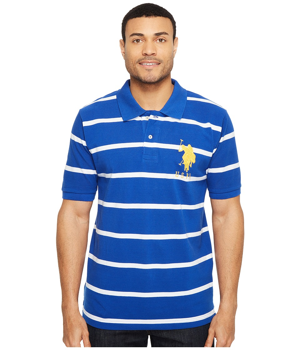 U.S. POLO ASSN. - 2 Color Narrow Stripe Polo (Cobalt Blue/White 1) Men's Short Sleeve Knit