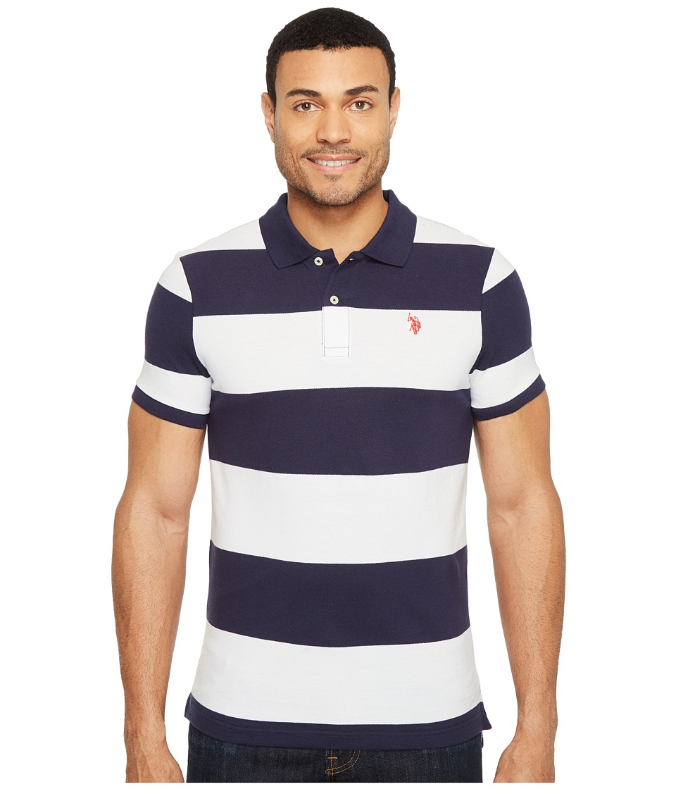 U.S. POLO ASSN. - Yarn-Dye Stripe Pique Polo (Classic Navy/White) Men's Clothing
